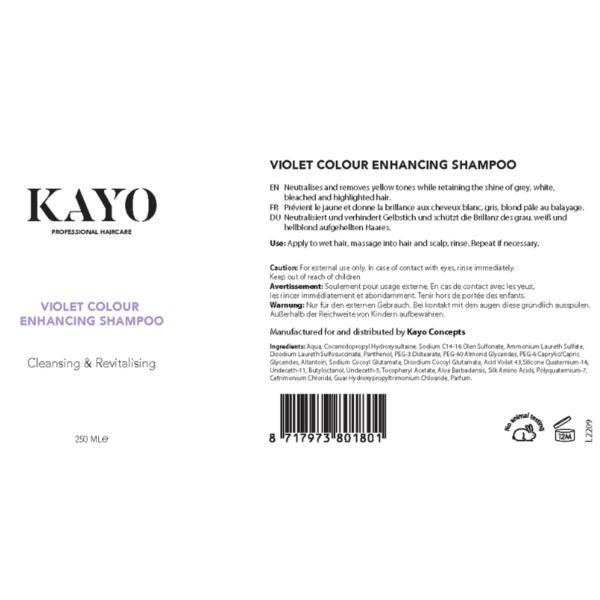 Voilet colour enhancing shampoo label